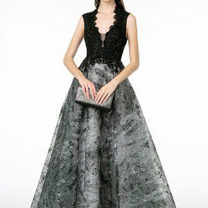 V-Neck Cap Sleeve Lace Evening Dress GSGL1836